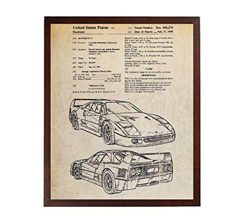 Turnip Designs F40 Patent Poster Auto Dekoration Auto Kunst Exotisch Sport Auto Mechaniker Geschenk Teenager Junge Wanddekoration Vintage TDP241 -