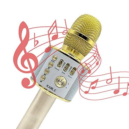 Microfono KAMLE Wireless Bluetooth Microfono Karaoke ,3 in 1 Handless Portatile Bluetooth Home KTV Player,Qualità audio superiore per Compatibile con Telefono/Android/iOS, PC o smartphone