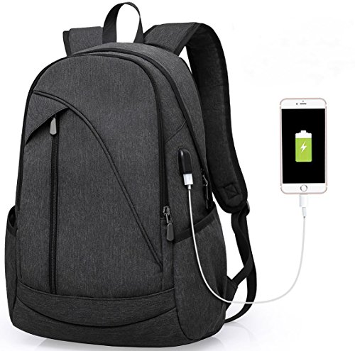 Laptop Notebook Rucksack USB Ladeanschluss: 35L gefütterte Tasche für Laptop bis zu 15.6 Zoll - wasserdichte Schultasche, Arbeitstasche für Computer bei Arbeit, Schule, Uni & Reisen (Schwarz) (Rucksack-taschen-notebook-laptop)