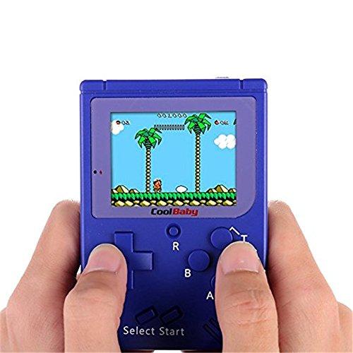 Queta Retro Mini FC Handheld Game Boy Game Konsole Schutz Nostalgie Geschenk PSP Eingebauter Akku blau blau 14*10cm