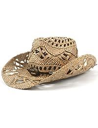 Gr 100% natürliche Jazz Stroh Cowboy Hut Frauen Männer Handwork Weave Cowboy Hüte für Lady Dad (Color : Black, Größe : 56-58CM)
