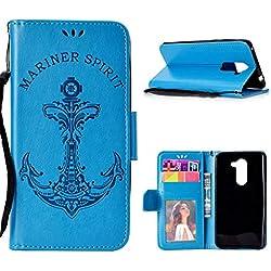 """SHUNDA Funda Honor 6X, Ancla PU Cuero Caso con Ranuras para Tarjetas Soporte Cierre Magnético Bumper Wallet Cubierta Protectora para Huawei GR5 2017/Honor 6X/Mate 9 Lite 5.5"""" - Azul"""