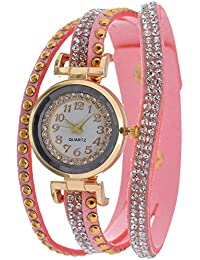 KMS Analog White Dial Women's Watch - BabyPink_StoneBelt_RoundDial