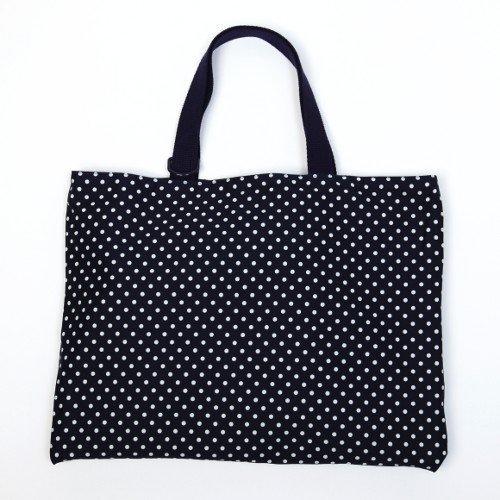 Kids lessons reversible polka dot bag, dark blue, dark blue canvas x made in Japan N0171700 Handmade sense (japan import)
