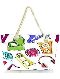 Snoogg Colorful Music Set Women Anchor Messenger Handbag Shoulder Bag Lady Tote Beach Bags Blue