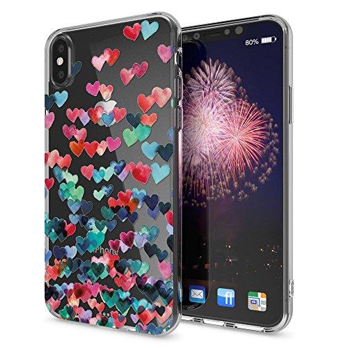 iPhone X Hülle Handyhülle von NICA, Slim Silikon Motiv Case Cover Crystal Schutzhülle Dünn Durchsichtig, Etui Handy-Tasche Backcover Transparent Bumper für Apple iPhone-X, Designs:Pineapple Colorheart