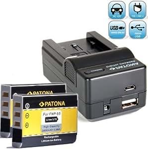 Bundlestar Akku Ladegerät 4 in 1 inkl Ladeschale für Fuji NP-95 + 2x PATONA Ersatzakku für Fuji NP-95 (1600mAh 100% kompatibel neueste Generation) zu -- Fujifilm Finepix X30 X70 X-S1 X100 X100s X100T F30 F31 usw -- NEUHEIT mit Micro USB Anschluss !
