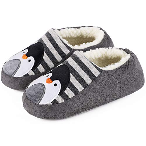 VeraCosy Boys Girls Comfy Cotton Knit House Slippers Light Weight Sherpa Lined Shoes for Kids with Elastic Back