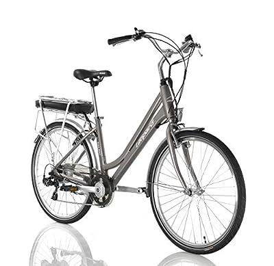 Leopard Railway City E-Bike Damen 26 Zoll 43 cm, City Elektrofahrrad, Pedelec E-Fahrrad, Silber
