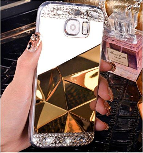 Custodia Cover per Samsung Galaxy S7 Samsung G930, Ukayfe Cover Specchio Lusso Placcatura Lucido di Cristallo di Scintillio Strass Diamante Glitter Caso per iPhone 7 Plus[Crystal TPU] [Shock-Absorptio Champagne oro1#