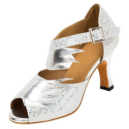 Meijili Womens Silver Glitter Evening Bridal Shoes Ballrom Latin Dance Sandals UK 5 (Platform Wedge Sequin)