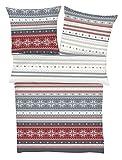 s.Oliver Bettwäsche 6131 in Normalgröße/flauschig warme Biberbettwäsche / 100% Baumwolle/grau rot/Norwegermuster / 2 Teiliges Set aus Deckenbezug 135x200cm und Kissenhülle 80x80cm / Reißverschluss