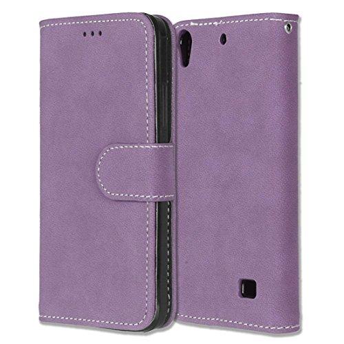 Huawei Ascend G620S Hülle, Chreey Matt Leder Tasche Retro Handyhülle Magnet Flip Case mit Kartenfach Geldbörse Schutzhülle Etui [Lila]