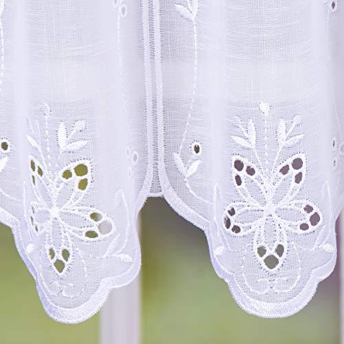 SCHÖNER LEBEN. Bistrogardine Scheibengardine Stickerei halbtransparent Lochstickerei Meterware nähfrei weiß 45cm Höhe