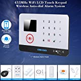 OWSOO Sistema de Alarma 433MHz Wifi Inalámbrico con Sensor de Agua y Puerta Panel Teclado Pantalla LCD Sirena Kit App Móvil Control Remoto Alarma de Seguridad Antirrobo