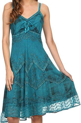 Sakkas 151304- Lacey Stonewashed Embroiderot Silber Threaded Spaghetti Strap Kleid- türkis-1X/2X