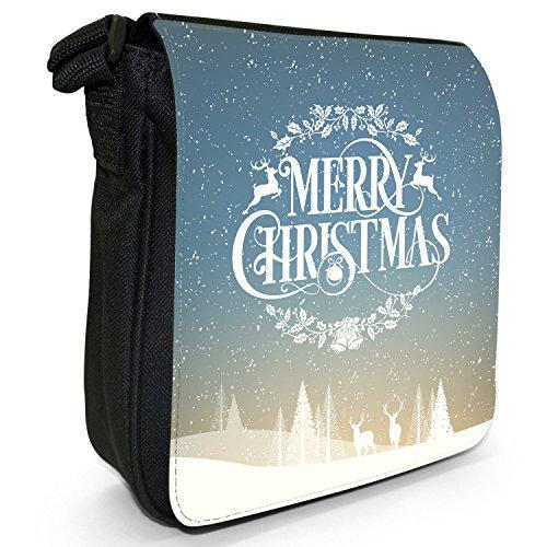Neve Tipografia auguri di Natale piccolo nero Tela Borsa a tracolla, taglia S Reindeer Christmas Wreath
