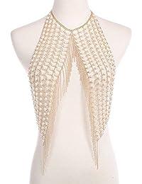 Drehmomente Frauen Glänzenden Strass Multilayer Quaste Bh Bikini Halskette Gold