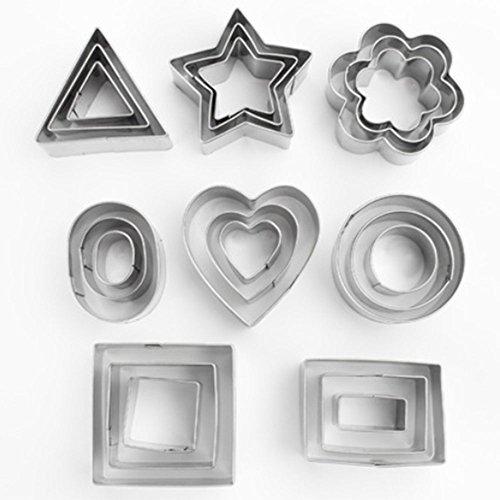 Wurst Trocknen (YooHome Ausstechformen zum Backen, aus Edelstahl, geometrische Formen, für Kekse, Fondant, Kuchen etc., 24 Stück)