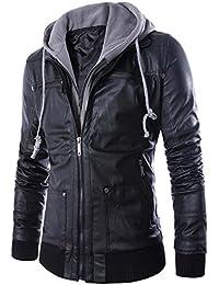 Naughtyman Veste en cuir à capuche pour homme