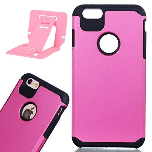 Per iphone 6 plus/6S plus 5.5 pollici Custodia, Ekakashop di lusso Hybrid Heavy Duty antiurto morbido silicone Gel & Rigida PC 2-in-1 non Layer antiscivolo Anti-dirt Protezione Protettivo Cover Case p Hot Pink