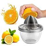 LongcMall Zitruspresse Zitronenpresse Edelstahl Entsafter Saftpresse Manuell Orangenpresse Limettenpresse Glas