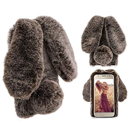 Moiky Marron Silicone Coque pour Galaxy S7,Hiver Chaud Fluffy Coque pour Galaxy S7, Luxe Belle Peluche Lapin Élégant 3D Diamant Femmes Girly Laine Chaud Moelleux Lapin Housse