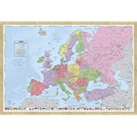 Europe Map Pin Board Framed In Oak Wood Includes Pins - 96.5 x 66 cms (Approx 38 x 26 inches)