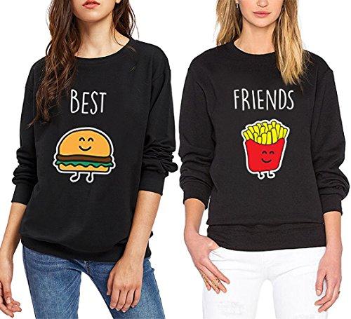 *Pullover Schwester Beste Freunde Schwarz Für Zwei Mädchen Sweatshirt Damen Weiß Ohne Kapuze Pulli Frau Aufdruck Baumwolle 2 Stück JWBBU® (Best-S+Friends-S, Schwarz)*