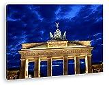 gigantisches Brandenburger Tor bei Nacht Effekt: Zeichnung im Format: 120x80 als Leinwandbild, Motiv fertig gerahmt auf Echtholzrahmen, Hochwertiger Digitaldruck mit Rahmen, Kein Poster oder Plakat