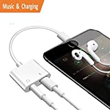 Adaptador Lightning para iPhone 8/8 Plus / 7 / 7Plus / X Charger, 2 en 1 Lightning Adaptador de Audio de 3,5 mm, Lightning Adaptador para Auriculares AUX Jack de 3,5 mm, Soporte de Carga y escuchar Canciones, Soporte iOS 10.3 / 11