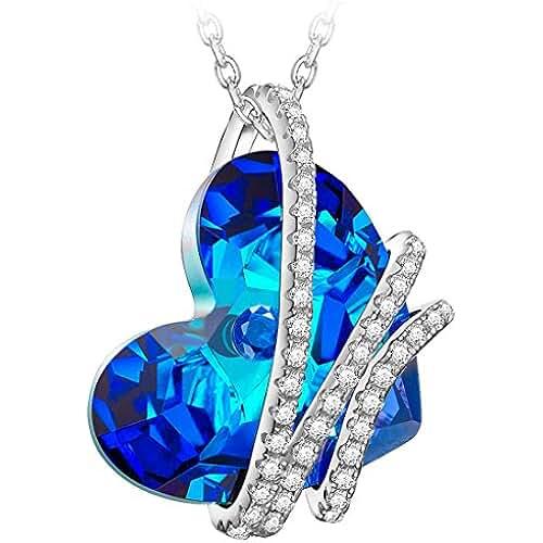 ofertas para el dia de la madre ❤Regalos para Mamá❤ NINASUN Corazón del Océano Plata de Ley 925 Fabricados con Cristales SWAROVSKI® Corazón Azul, Colgante Collar Mujer, Libre de Alérgenos, Cadena de Extensión de 45+6cm