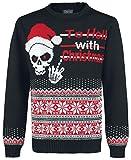 Ugly Christmas Sweater Totenkopf Strick-Sweater schwarz XXL