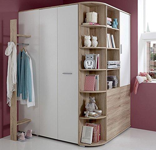 #lifestyle4living Begehbarer Eckkleiderschrank weiß, Eiche-Nachbildung, Falttür | Kleiderschrank | Schlafzimmerschrank | Eckschrank#