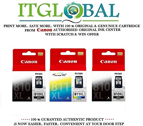 Canon Combo Ink Cartridge Black & Color ( PG 810 XL Twin & CL 811 XL ) [Set of 3 Cartridge] -Special ITGLOBAL Combo With Scratch & Win Offer 810xl 811xl  available at amazon for Rs.5764