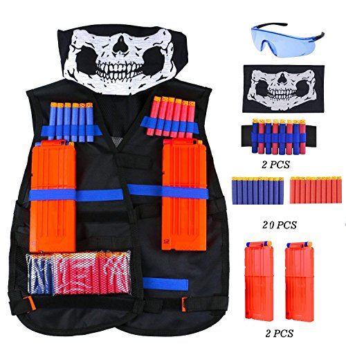 (Kinder Taktische Weste Jacke Set ( kommt mit Schädel-Gesichtsmaske + Schutzbrille + 20er Dart Nachfüllpack + 2er Handgelenk Bandolier + 1er Clip Magazine für 12-Dart ) für Nerf N-Strike Elite Zubehör)