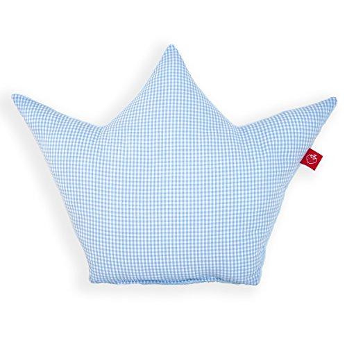La Fraise Rouge 4251005602171 Kissen Krone Prinz, Vichy Karo, hellblau/weiß