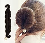 AKOAK 1 Pcs Elegant Pearl Magic French Twist Bun Maker Clip Hook Holder Magic Beauty Hair Hairstyle Foam Sponge Donut Maker Ponytail Bun Maker Twister