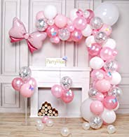 PartyWoo Palloncini Rosa, 100 Pezzi Palloncini Rosa, Palloncini Rosa Pastello, Palloncini Argento, Palloncini
