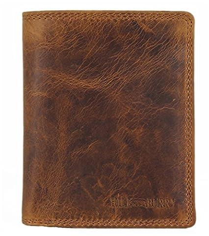 Hill Burry Herren Echt-Leder Geldbörse Portemonnaie Brieftasche Portmonee Geldbeutel Kredit-Kartenetui Wallet Vintage Organizer Reisebrieftasche aus hochwertigem Leder braun LGHB6402