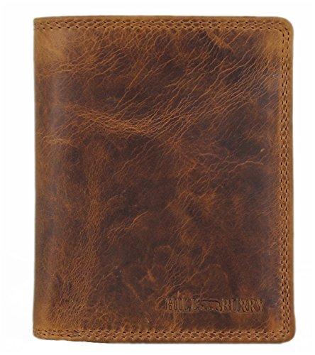 Geldbörse Herren Leder Portemonnaie Brieftasche Portmonee Geldbeutel Kreditkartenetui Wallet Vintage Organizer Reisebrieftasche aus hochwertigem Echt-Leder Hill Burry Hochformat braun 6402 (Leder Passport Wallet Braune)