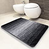 casa pura Tapis de bain Ombre noir-blanc | ultra doux et souple| poil long | lavable | 5 tailles - 70x120cm