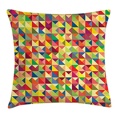 vbcnfgdntdy Abstract Triangle Throw Pillow Cushion Cover, Colorful Abstract Composition with Checkered Squares Mosaic Style Pattern, Decorative Square Accent Pillow Case, 18 X 18 inches, Multicolor