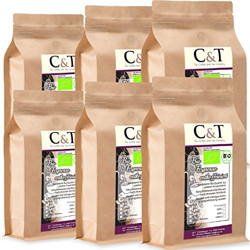 C&T Bio Espresso Crema | Cafe entkoffeiniert 100% Arabica 6x1000 g ganze Bohnen Gastro-Sparpack im...