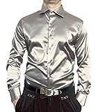 Renzo Herren Designer Glanz Hemd Bügelfrei Silber Größe M 40