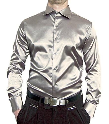 Herren Designer Glanz Hemd Bügelfrei Silber Größe XXXL 48