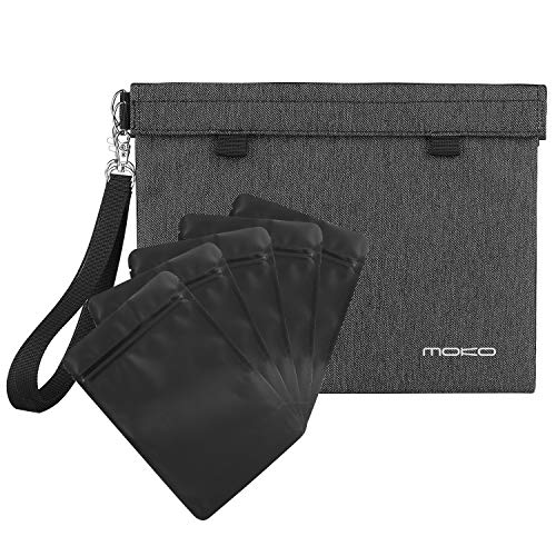 MoKo Smell Proof Bag, [11 x 8.5 Inches] Water Resistant Odor Proof Hand Pouch with Resealable Double HOOK & LOOP Bags Container for Storing Tea, Cheese, Spices, Herbs, Onions, Dark Gray