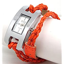 Ladies Oblong White Faced Watch with Orange Plaited Multi Stranded Strap