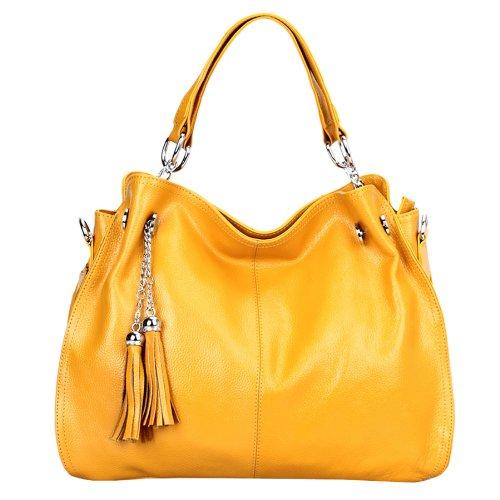 Dissa Q0217 donna Borse a spalla,Borse a tracolla38x28x14 cm (B x H x T) Yellow