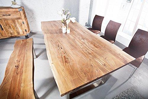 Massiver Baumstamm Esstisch MAMMUT 160cm Akazie Massivholz Industrial Look Kufengestell mit 3,5cm dicker Tischplatte Holztisch Küchentisch